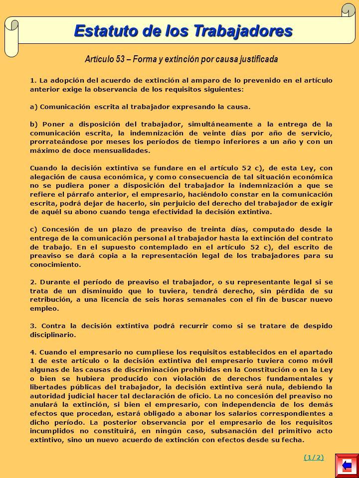 Artículo 53 – Forma y extinción por causa justificada 1.