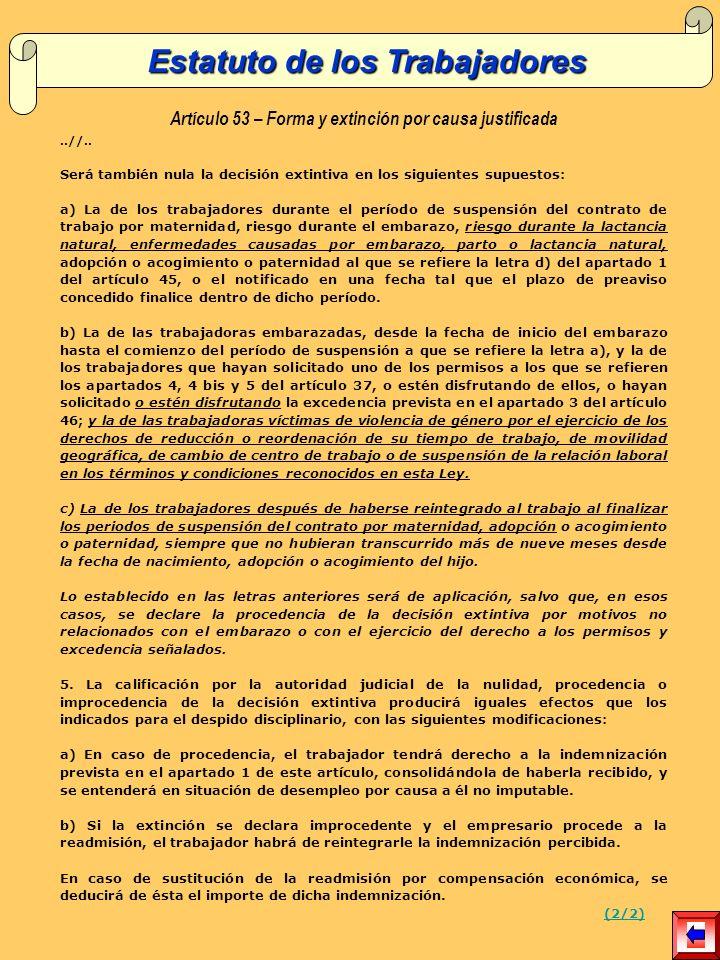 Artículo 53 – Forma y extinción por causa justificada..//..