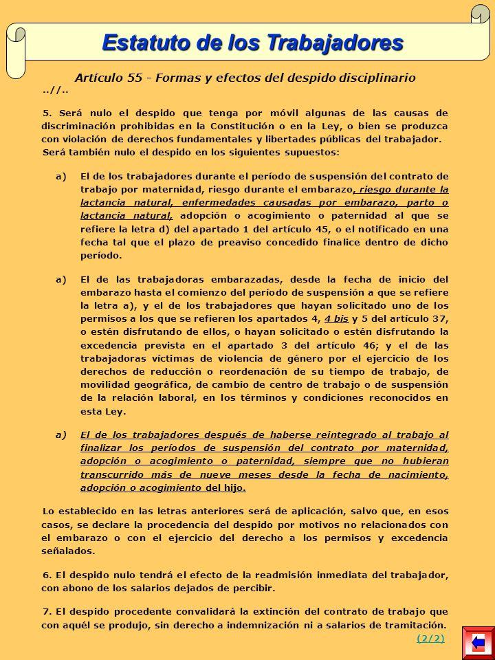 Artículo 55 - Formas y efectos del despido disciplinario..//..