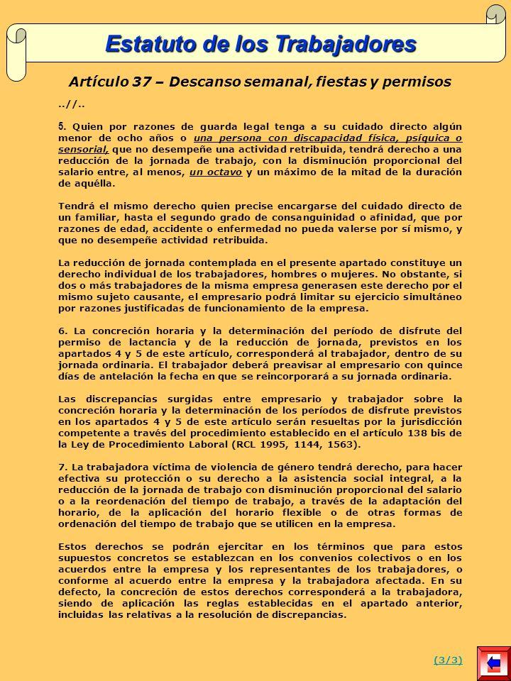 Artículo 37 – Descanso semanal, fiestas y permisos..//..