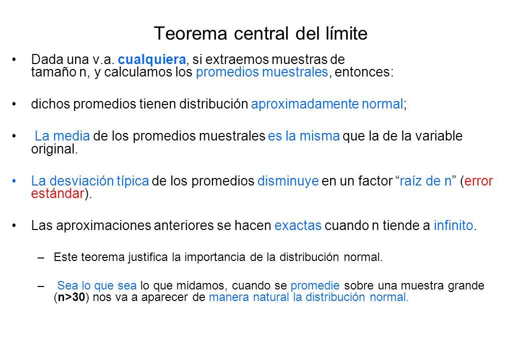 Teorema central del límite Dada una v.a. cualquiera, si extraemos muestras de tamaño n, y calculamos los promedios muestrales, entonces: dichos promed