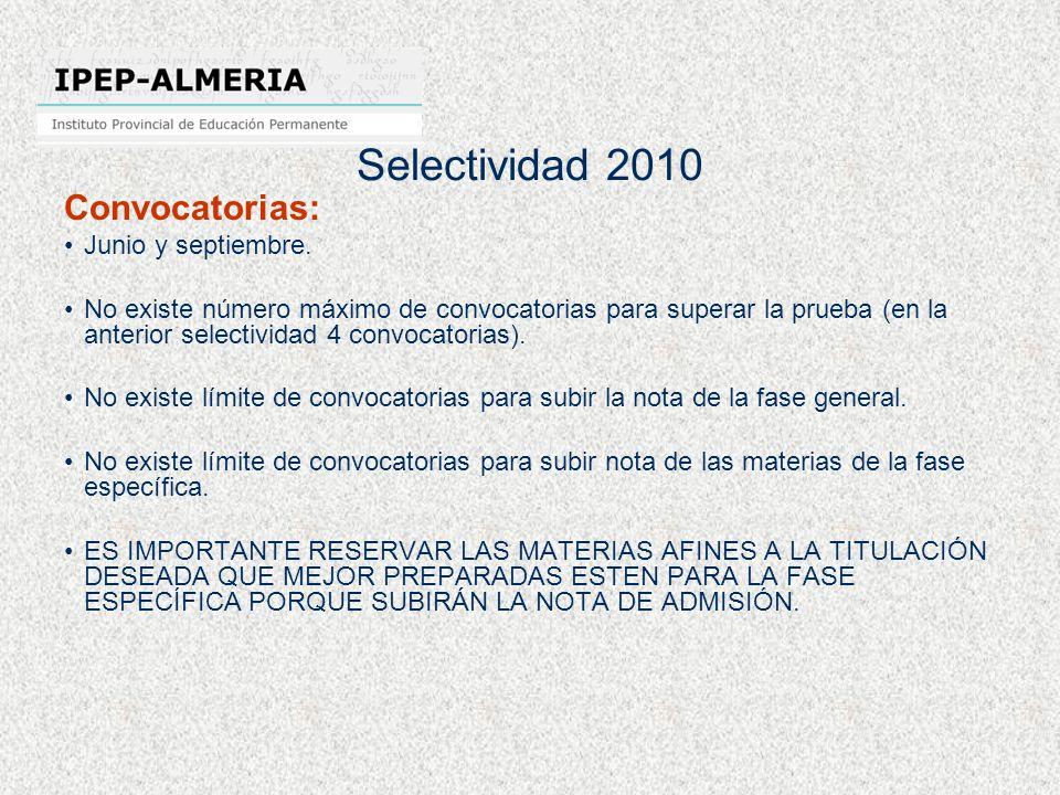 Selectividad 2010 Convocatorias: Junio y septiembre. No existe número máximo de convocatorias para superar la prueba (en la anterior selectividad 4 co