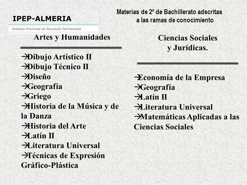 Materias de 2º de Bachillerato adscritas a las ramas de conocimiento Artes y Humanidades Dibujo Artístico II Dibujo Técnico II Diseño Geografía Griego Historia de la Música y de la Danza Historia del Arte Latín II Literatura Universal Técnicas de Expresión Gráfico-Plástica Ciencias Sociales y Jurídicas.