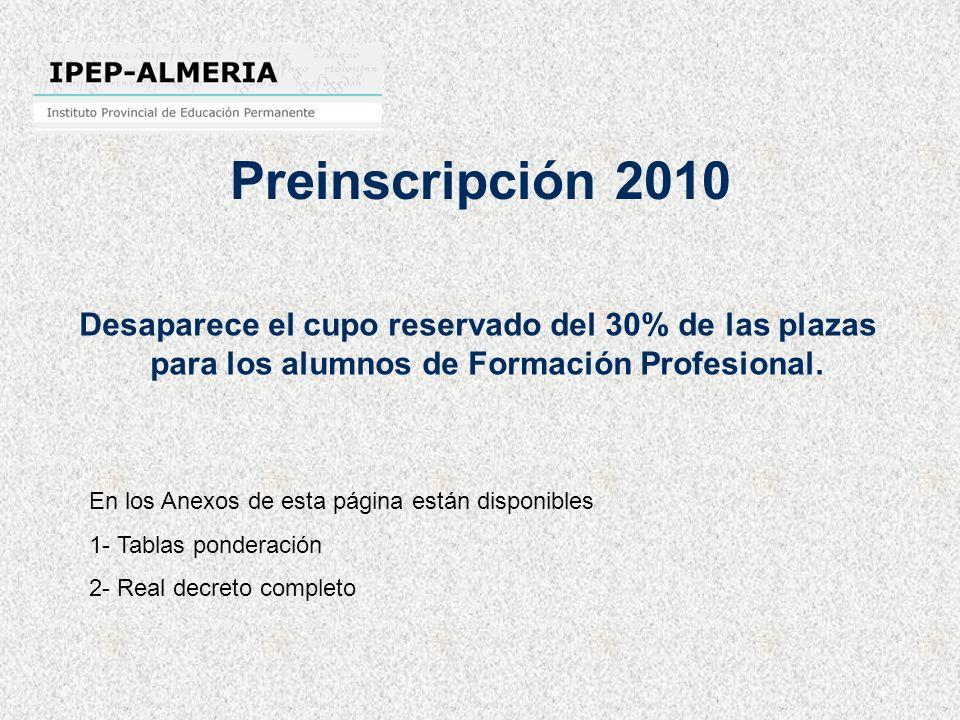 Preinscripción 2010 Desaparece el cupo reservado del 30% de las plazas para los alumnos de Formación Profesional. En los Anexos de esta página están d