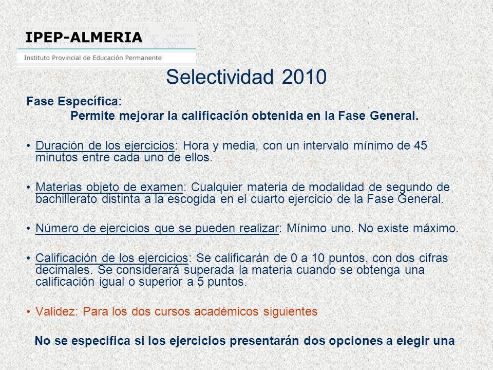 Selectividad 2010 Fase Específica: Permite mejorar la calificación obtenida en la Fase General. Duración de los ejercicios: Hora y media, con un inter