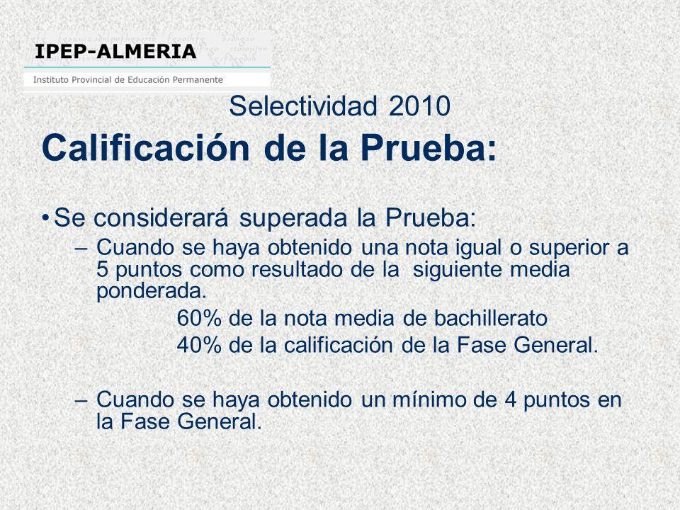 Selectividad 2010 Calificación de la Prueba: Se considerará superada la Prueba: –Cuando se haya obtenido una nota igual o superior a 5 puntos como res