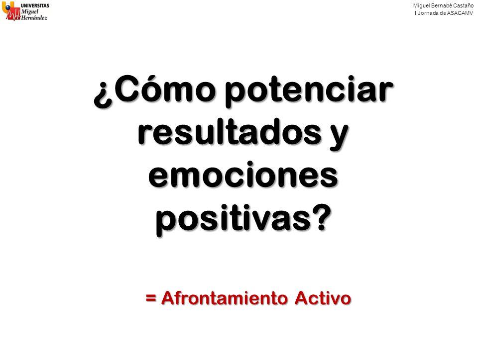 Miguel Bernabé Castaño I Jornada de ASACAMV ¿Cómo potenciar resultados y emociones positivas? = Afrontamiento Activo