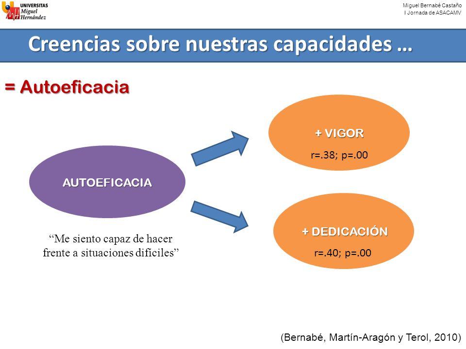 Miguel Bernabé Castaño I Jornada de ASACAMV Creencias sobre nuestras capacidades … (Bernabé, Martín-Aragón y Terol, 2010) = Autoeficacia AUTOEFICACIA