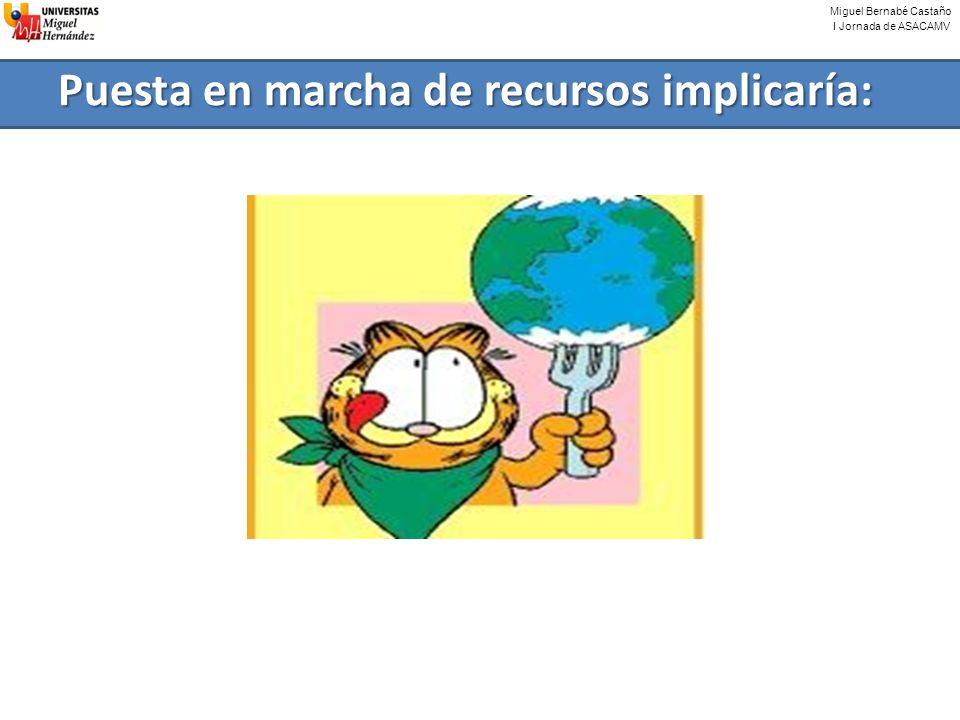 Miguel Bernabé Castaño I Jornada de ASACAMV Puesta en marcha de recursos implicaría:
