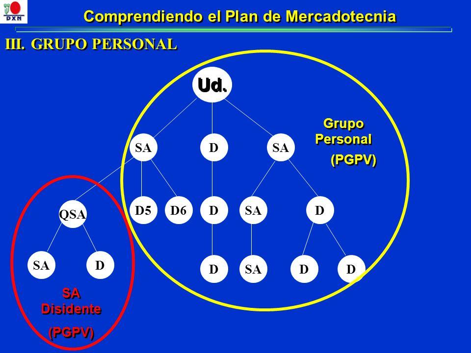 Comprendiendo el Plan de Mercadotecnia III. GRUPO PERSONAL SAD Ud. QSA D5D6DSAD D DD D Grupo Personal SA Disidente (PGPV)