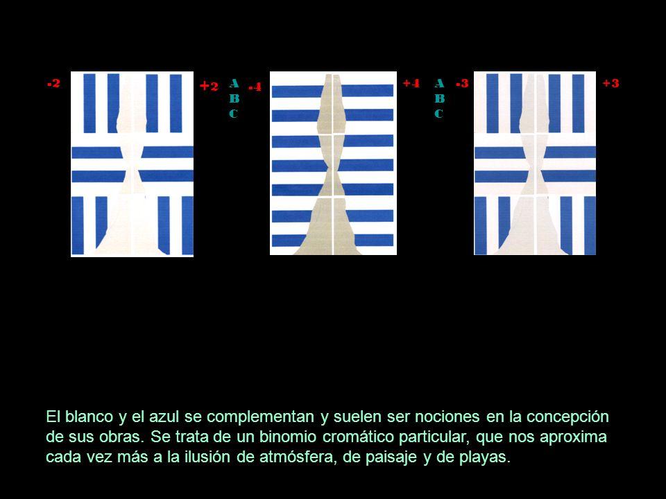 -2 + 2 -4 ABCABC ABCABC +4 -3 +3 El blanco y el azul se complementan y suelen ser nociones en la concepción de sus obras.