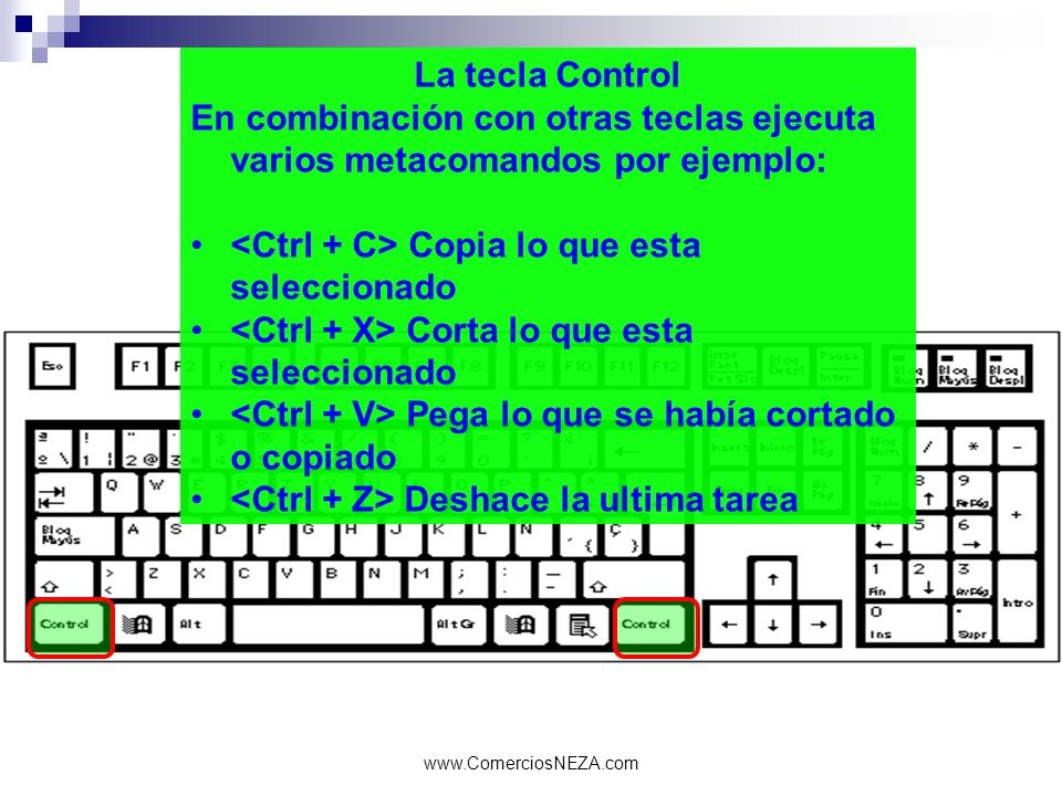 www.ComerciosNEZA.com La tecla Control En combinación con otras teclas ejecuta varios metacomandos por ejemplo: Copia lo que esta seleccionado Corta l