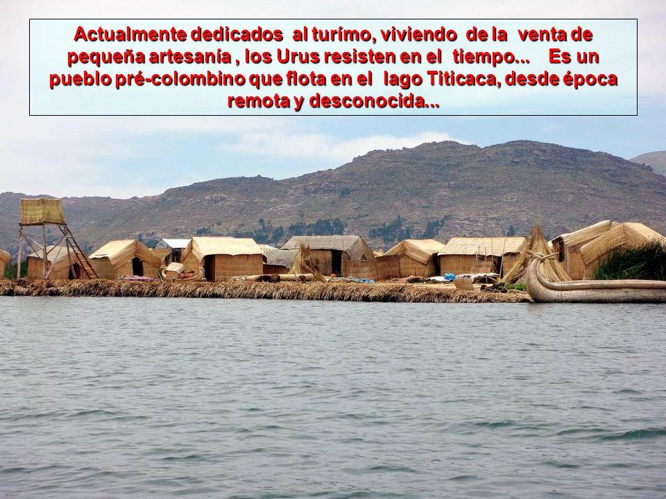 Las islas de los Urus, famosas islas flotantes en el lago Titicaca, construídas de Totora (un tipo de junco), estan ancladas en las proximidades de Puno, en el Peru.