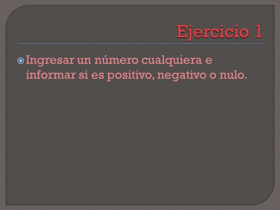 C Número Positivo Negativo Número > O Número = 0 Nulo F