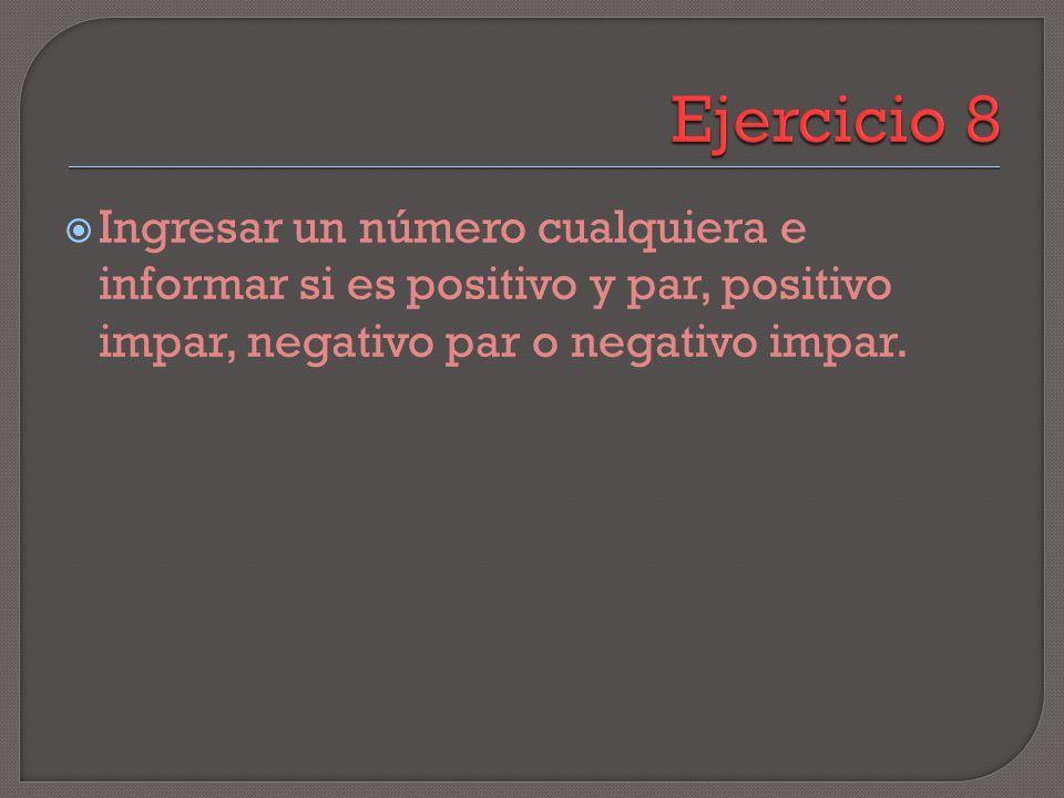 Ingresar un número cualquiera e informar si es positivo y par, positivo impar, negativo par o negativo impar.