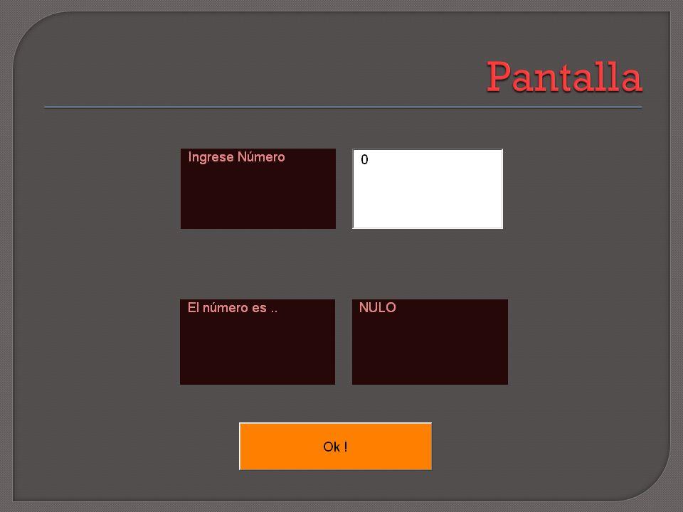 Private Sub CommandButton1_Click() Dim numero1 As Integer numero1 = Val(TextBox1) If numero1 = 0 Then Label3 = ( Nulo ) Else If numero1 > 0 Then Label3 = ( Positivo ) Else Label3 = ( Negativo) End If End Sub