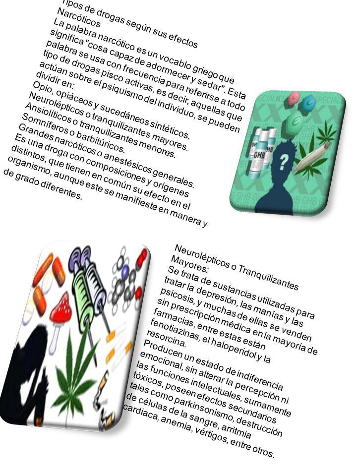 Tipos de drogas según sus efectos Narcóticos La palabra narcótico es un vocablo griego que significa