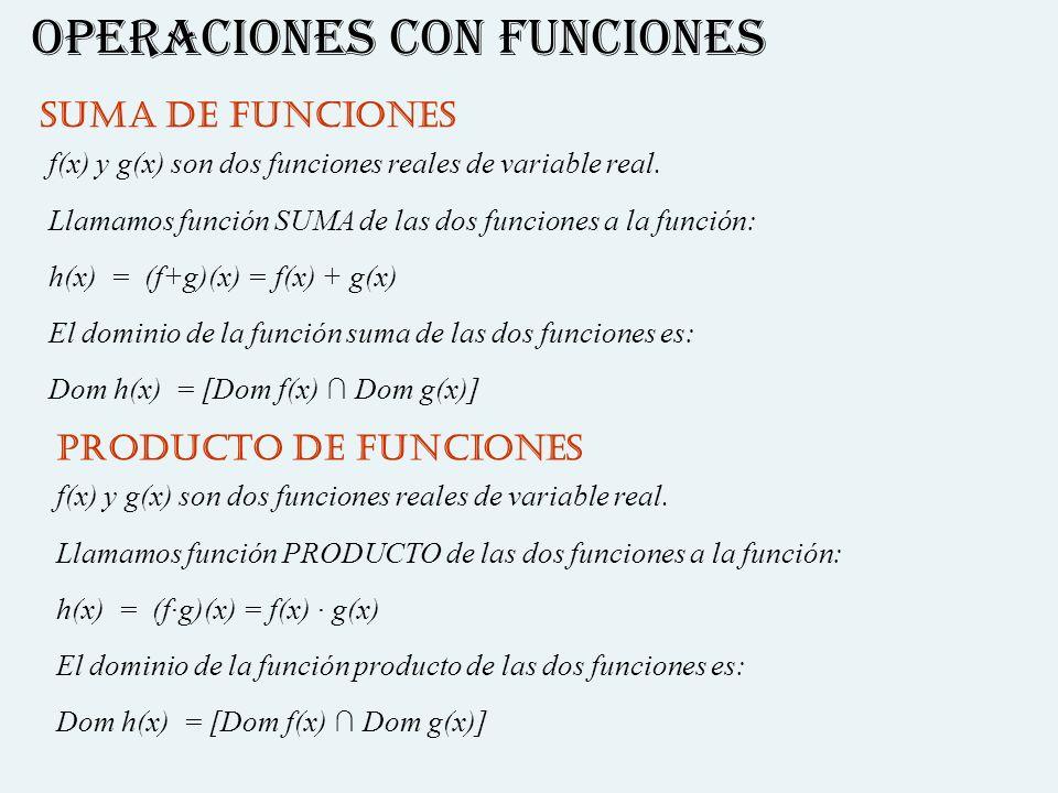 OPERACIONES CON FUNCIONES SUMA DE FUNCIONES f(x) y g(x) son dos funciones reales de variable real. Llamamos función SUMA de las dos funciones a la fun