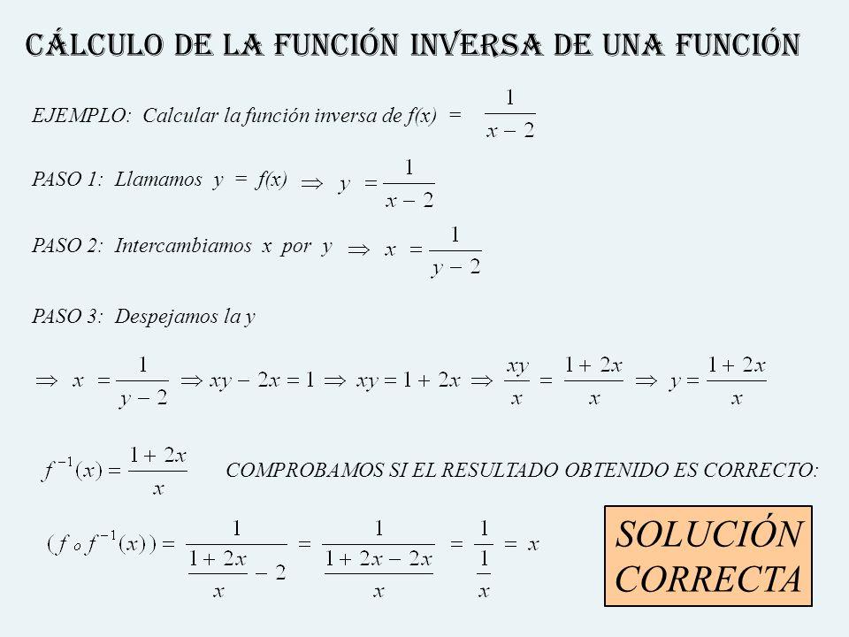 Cálculo de la función inversa de una función EJEMPLO: Calcular la función inversa de f(x) = PASO 1: Llamamos y = f(x)PASO 2: Intercambiamos x por y PA