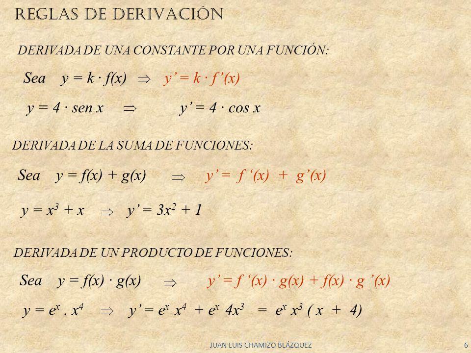 JUAN LUIS CHAMIZO BLÁZQUEZ6 REGLAS DE DERIVACIÓN DERIVADA DE LA SUMA DE FUNCIONES: Sea y = f(x) + g(x) y = f (x) + g(x) y = x 3 + x y = 3x 2 + 1 DERIV
