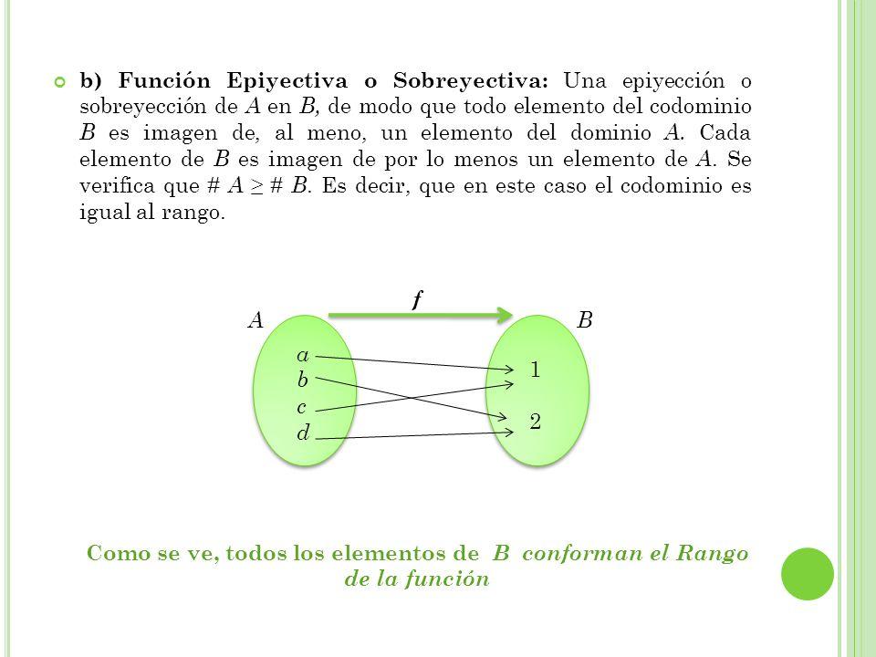 b) Función Epiyectiva o Sobreyectiva: Una epiyección o sobreyección de A en B, de modo que todo elemento del codominio B es imagen de, al meno, un ele