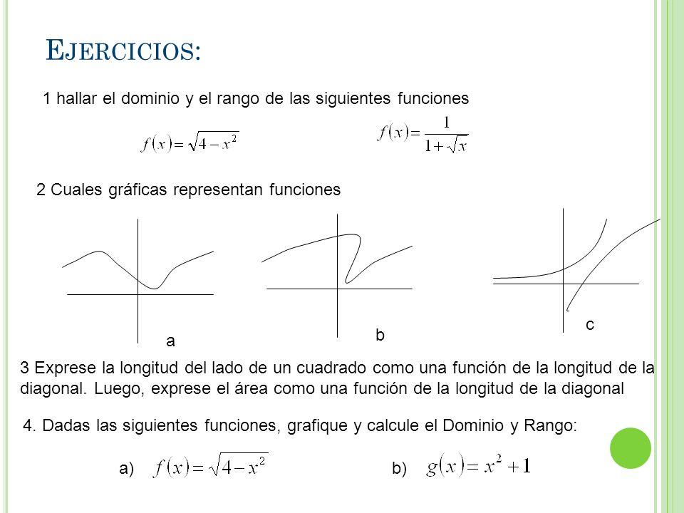 E JERCICIOS : 1 hallar el dominio y el rango de las siguientes funciones 2 Cuales gráficas representan funciones a b c 3 Exprese la longitud del lado