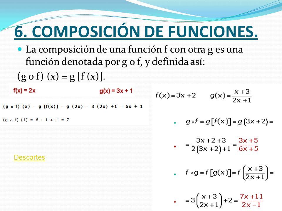 6. COMPOSICIÓN DE FUNCIONES. La composición de una función f con otra g es una función denotada por g o f, y definida así: (g o f) (x) = g [f (x)]. De