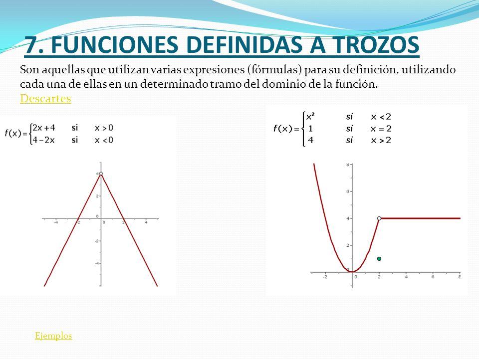 7. FUNCIONES DEFINIDAS A TROZOS Ejemplos Son aquellas que utilizan varias expresiones (fórmulas) para su definición, utilizando cada una de ellas en u