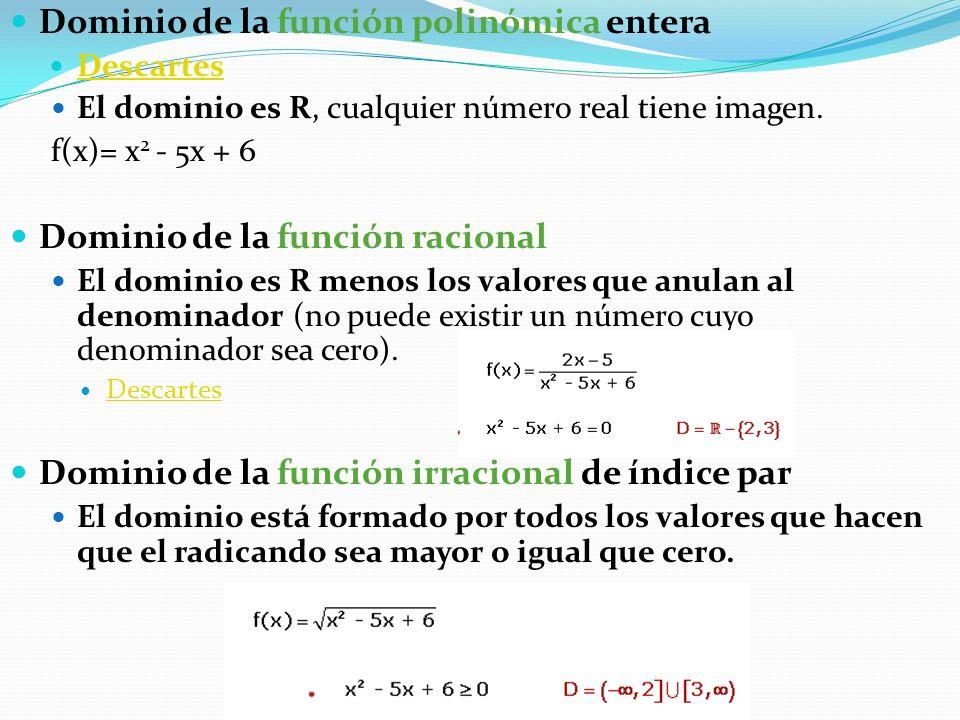 Dominio de la función polinómica entera Descartes El dominio es R, cualquier número real tiene imagen. f(x)= x 2 - 5x + 6 Dominio de la función racion