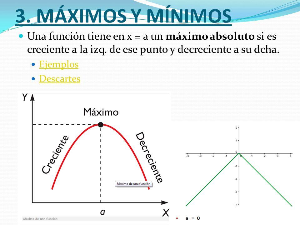 3. MÁXIMOS Y MÍNIMOS Una función tiene en x = a un máximo absoluto si es creciente a la izq. de ese punto y decreciente a su dcha. Ejemplos Descartes