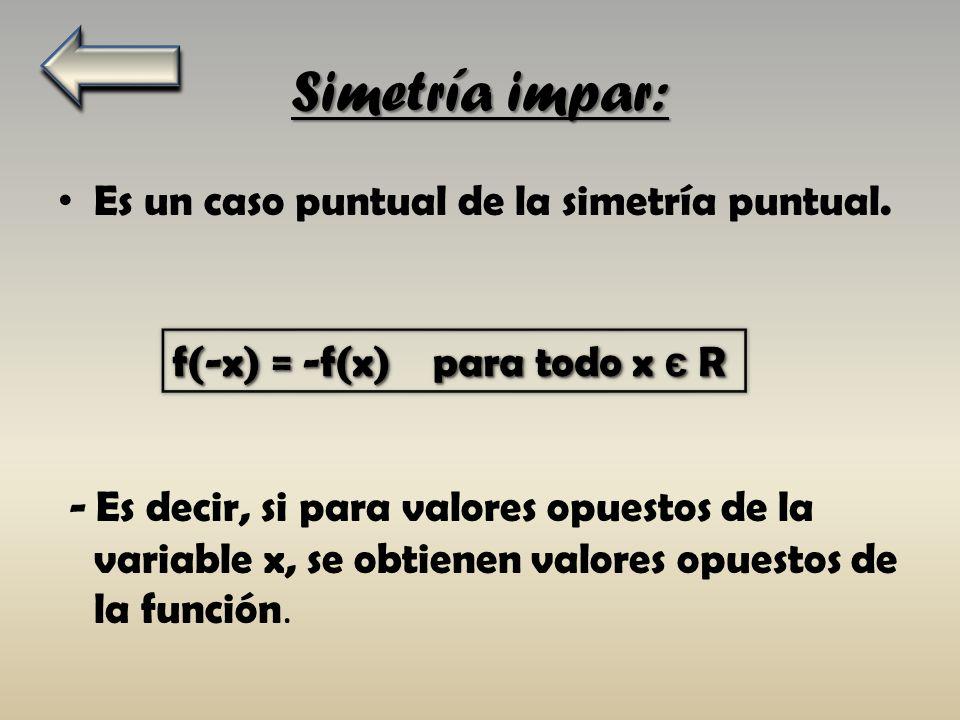 Segundo paso: Estudiamos la función para ver si es una simetría impar: f(-x) = -f(x) f(-x) = -f(x) f(-x) = (-x)³-1 = - x³-1 ; -x³-1 = - (x³-1) ; ; -(x³+1) = -(x³-1) No se cumple la igualdad por lo que no son funciones impares.