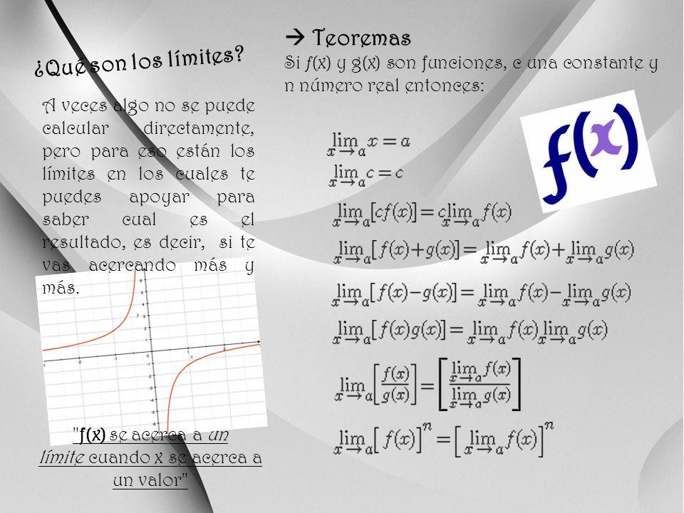 Clasificación de los Límites Límites por evaluación Se obtiene al aplicar los teoremas anteriores y evaluar el valor al cual tiende la variable en la función propuesta.