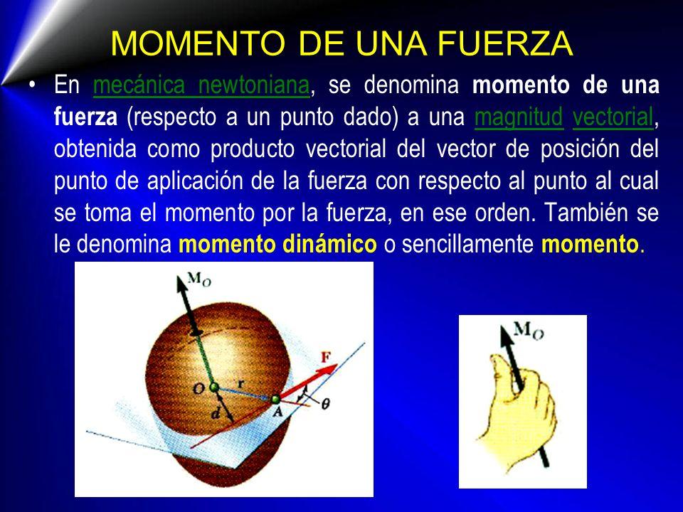 MOMENTO DE UNA FUERZA En mecánica newtoniana, se denomina momento de una fuerza (respecto a un punto dado) a una magnitud vectorial, obtenida como pro