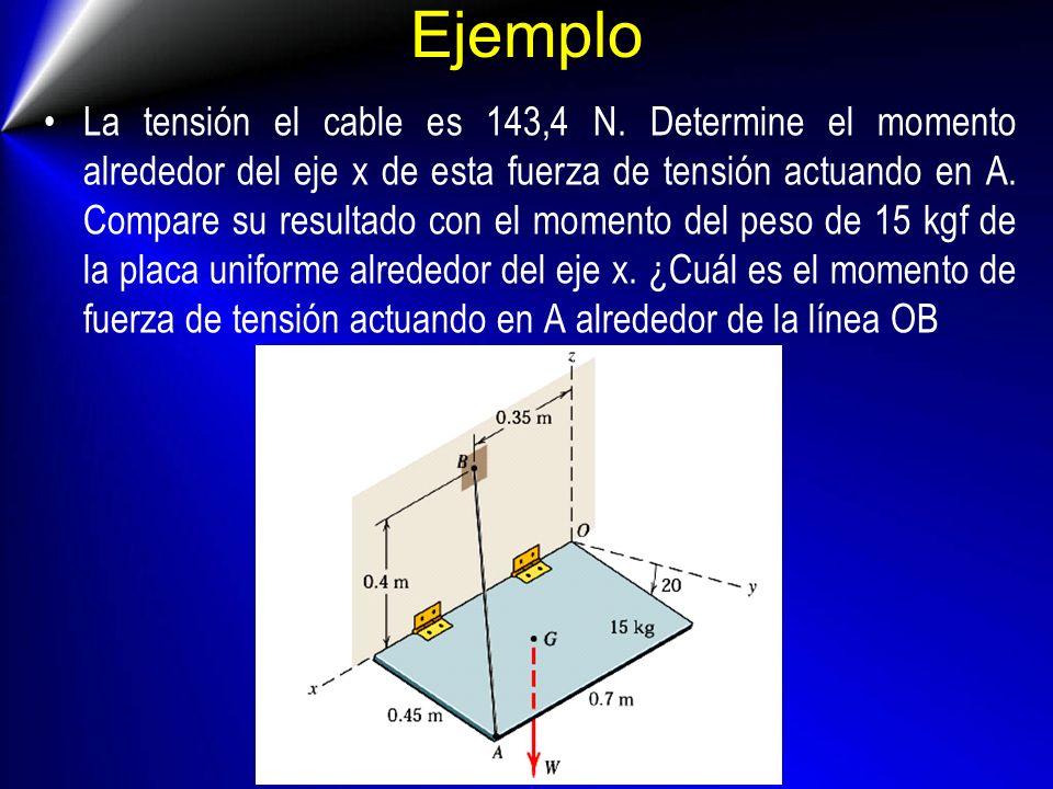 Ejemplo La tensión el cable es 143,4 N. Determine el momento alrededor del eje x de esta fuerza de tensión actuando en A. Compare su resultado con el