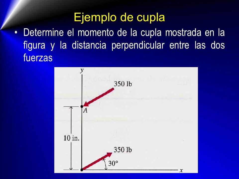 Ejemplo de cupla Determine el momento de la cupla mostrada en la figura y la distancia perpendicular entre las dos fuerzas