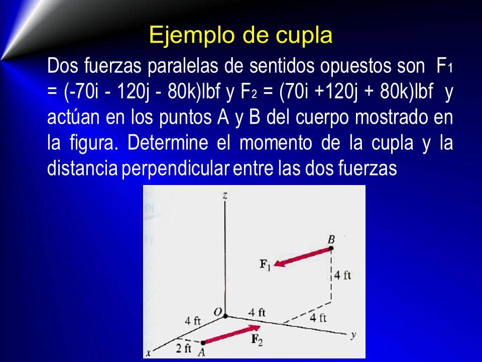 Ejemplo de cupla Dos fuerzas paralelas de sentidos opuestos son F 1 = (-70i - 120j - 80k)lbf y F 2 = (70i +120j + 80k)lbf y actúan en los puntos A y B