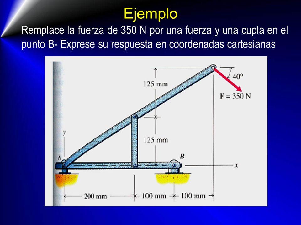 Ejemplo Remplace la fuerza de 350 N por una fuerza y una cupla en el punto B- Exprese su respuesta en coordenadas cartesianas