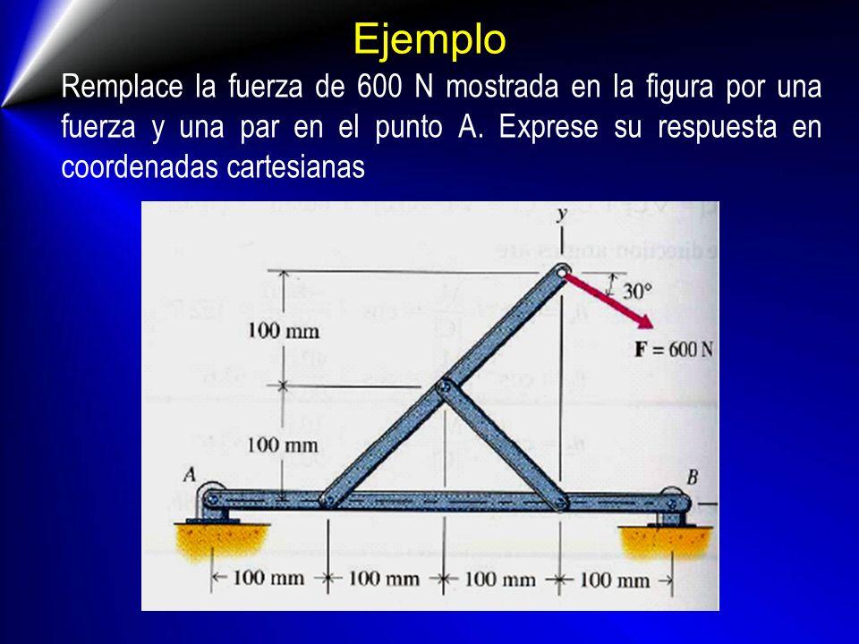 Ejemplo Remplace la fuerza de 600 N mostrada en la figura por una fuerza y una par en el punto A. Exprese su respuesta en coordenadas cartesianas
