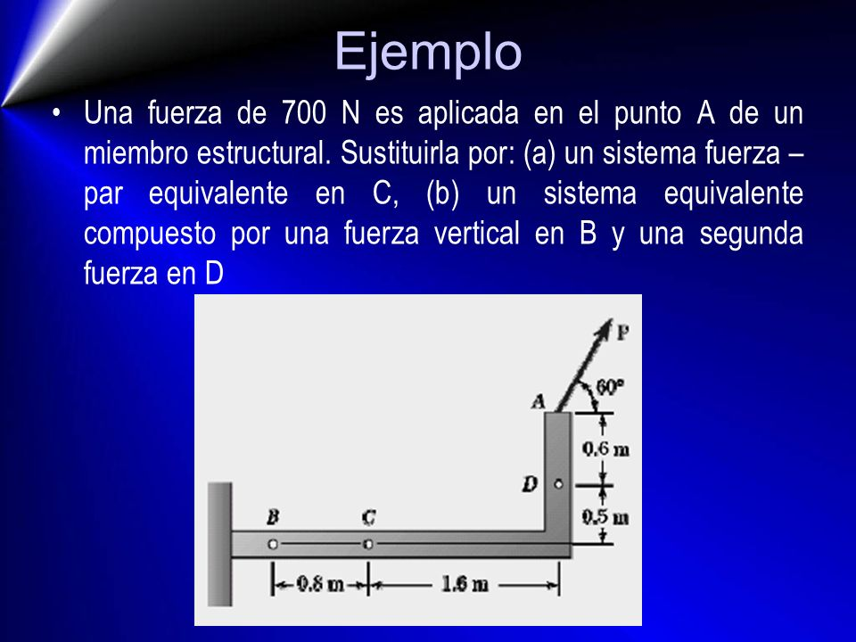 Ejemplo Una fuerza de 700 N es aplicada en el punto A de un miembro estructural. Sustituirla por: (a) un sistema fuerza – par equivalente en C, (b) un