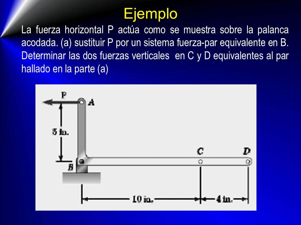 Ejemplo La fuerza horizontal P actúa como se muestra sobre la palanca acodada. (a) sustituir P por un sistema fuerza-par equivalente en B. Determinar