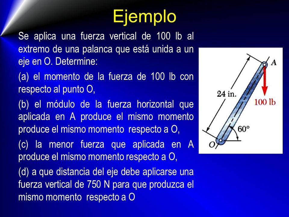 SISTEMAS FUERZA CUPLA Cualquier fuerza F aplicada a un sólido rígido puede ser trasladada a un punto arbitrario B, sin más que añadir una cupla cuyo momento sea igual al momento de F respecto de B No hay cambio en el efecto externo Cupla