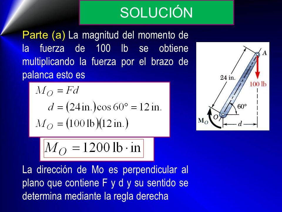 Parte (a) La magnitud del momento de la fuerza de 100 lb se obtiene multiplicando la fuerza por el brazo de palanca esto es La dirección de Mo es perp