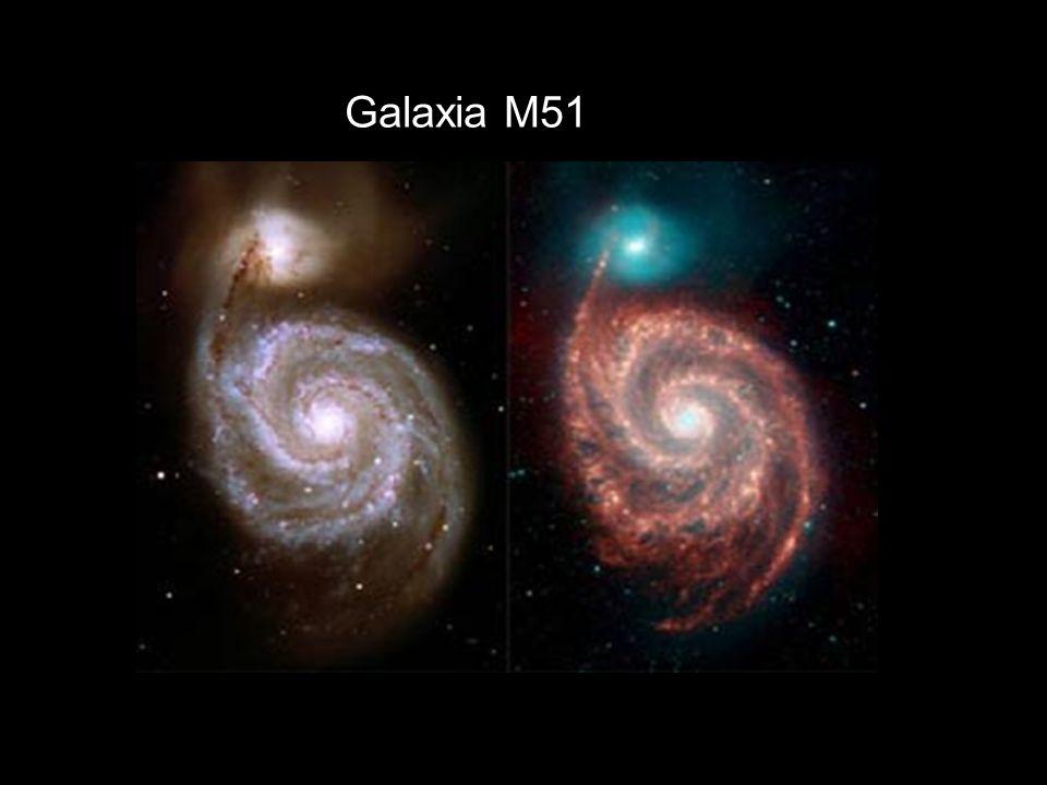 Muchas galaxias tienen formas espirales, por ejemplo, la galaxia M51, con esta forma.