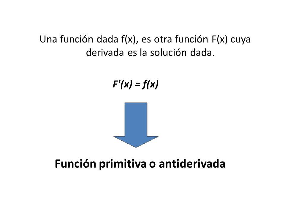 Una función dada f(x), es otra función F(x) cuya derivada es la solución dada.