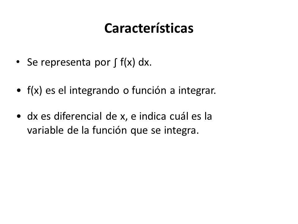 Características Se representa por f(x) dx. f(x) es el integrando o función a integrar.