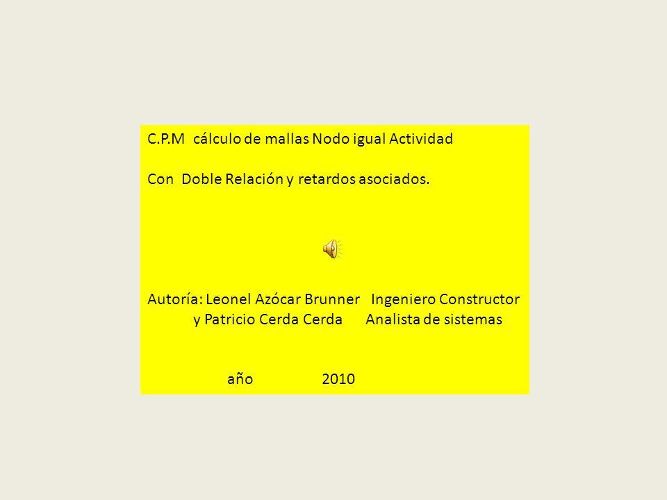 C.P.M cálculo de mallas Nodo igual Actividad Con Doble Relación y retardos asociados. Autoría: Leonel Azócar Brunner Ingeniero Constructor y Patricio