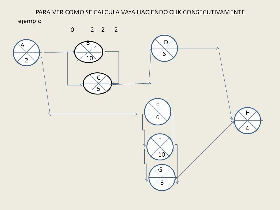 ejemplo 10 5 B A E F C D G H 2 6 6 3 4 02 PARA VER COMO SE CALCULA VAYA HACIENDO CLIK CONSECUTIVAMENTE 22