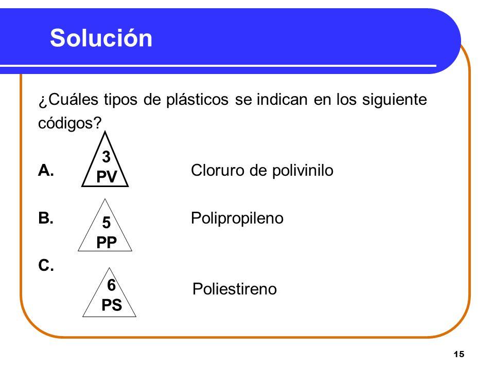 15 Solución ¿Cuáles tipos de plásticos se indican en los siguiente códigos.