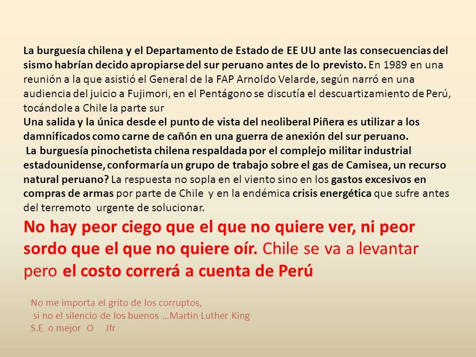 construyendo suramérica Año 2 Nº 11 Suramérica, 2010, marzo 10. Desde siempre la burguesía chilena mira al Perú como área de expansión natural, por el