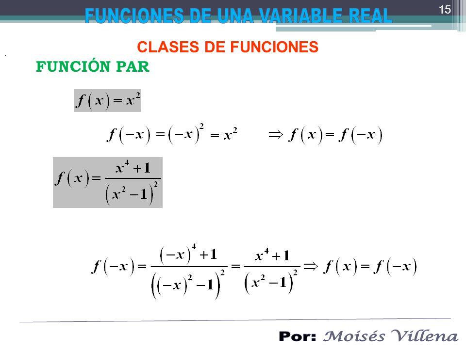 CLASES DE FUNCIONES. FUNCI Ó N PAR 15